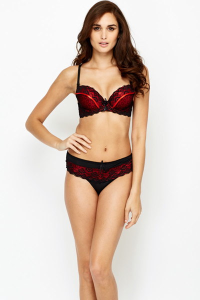 Contrast Push Up Bra And Thong Set