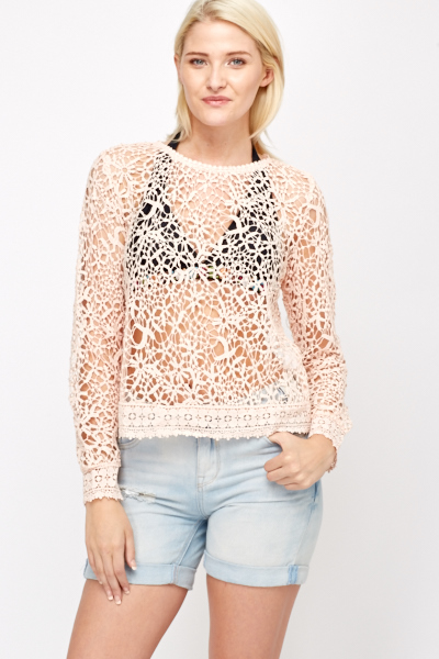 f138fc383b Floral Crochet Beach Cover Up - Just £5