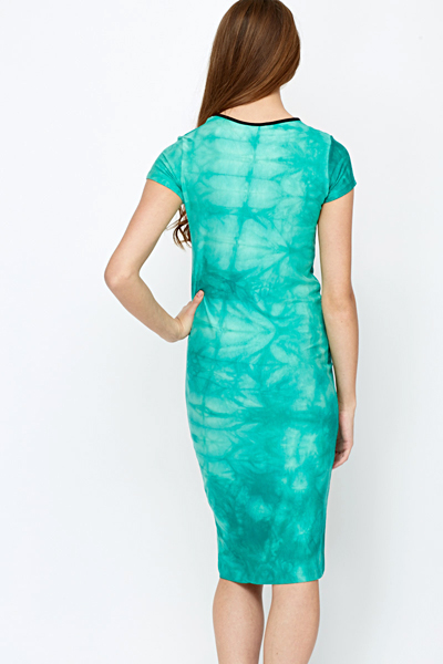 Tie Dye Green Midi Dress