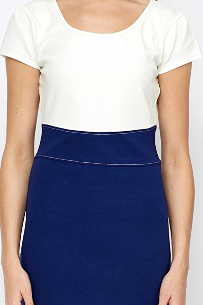 Contrast Pleated Bodycon Dress
