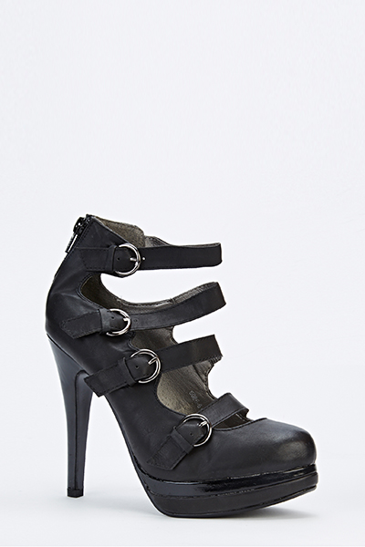 Faux Leather Strappy Ankle Boots