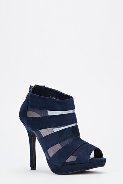 Strappy Mesh Peep Toe Heeled Boots