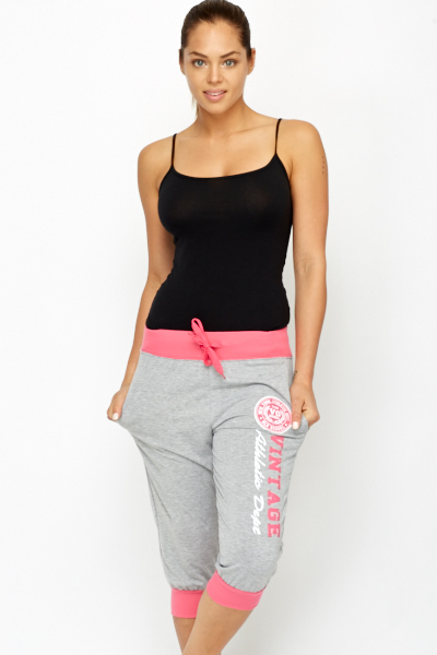 Contrast Emblem Cropped Trousers