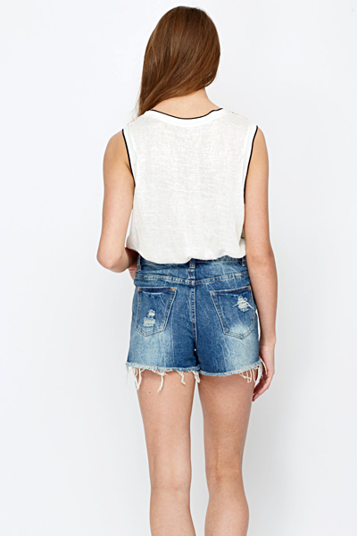 Knitted Back Sleeveless Top
