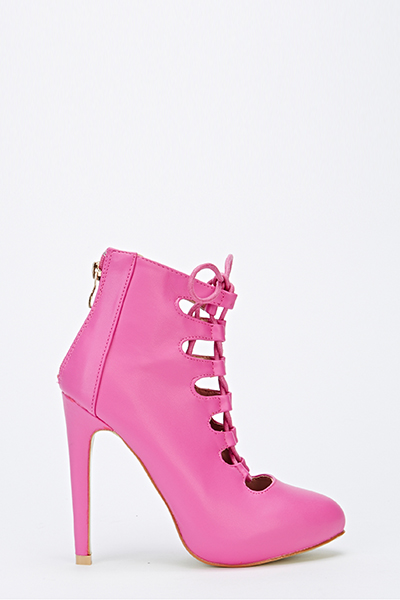 Lace Up Fuchsia Heeled Boots