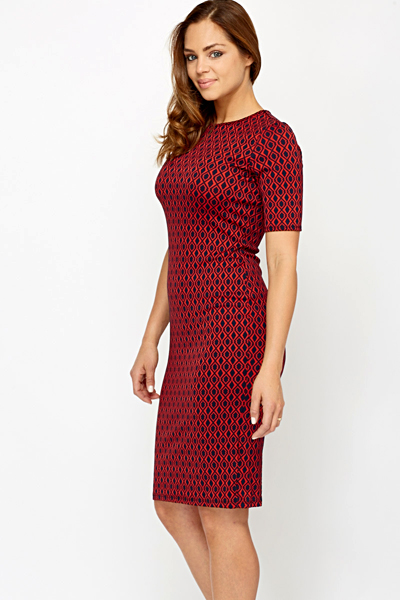 Contrast Pattern Midi Dress