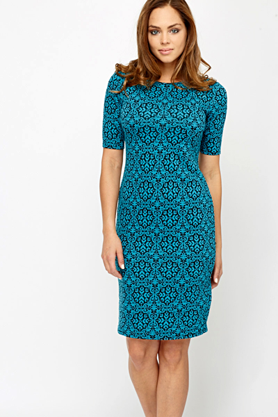 Ornate Turquoise Bodycon Dress