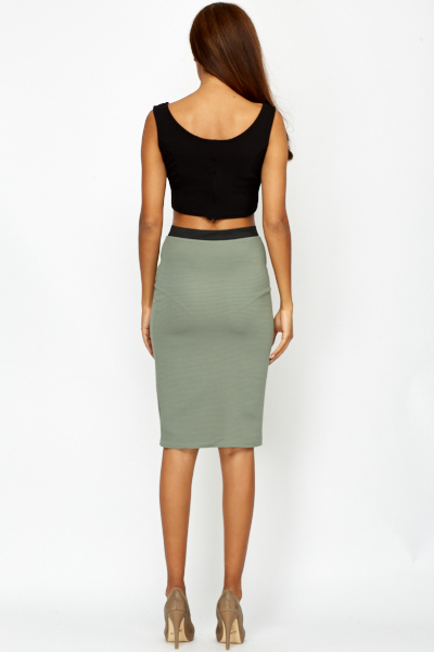 Ribbed Olive Bodycon Skirt
