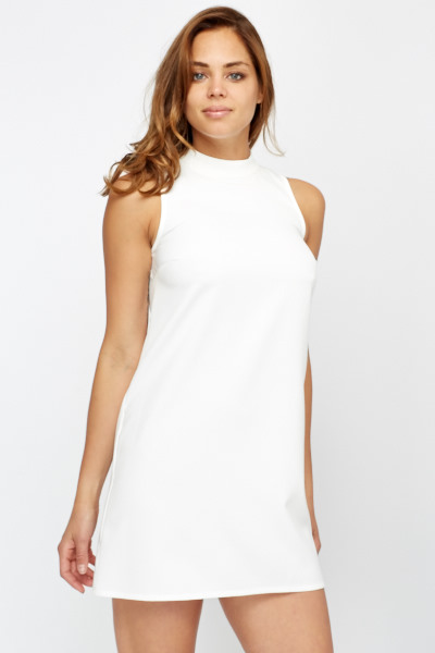 White High Neck Swing Dress - Just £5