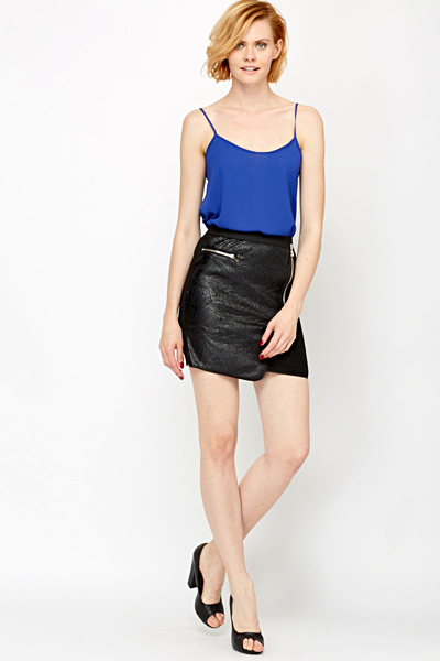 High Waisted Faux Leather Skirt - Just £5