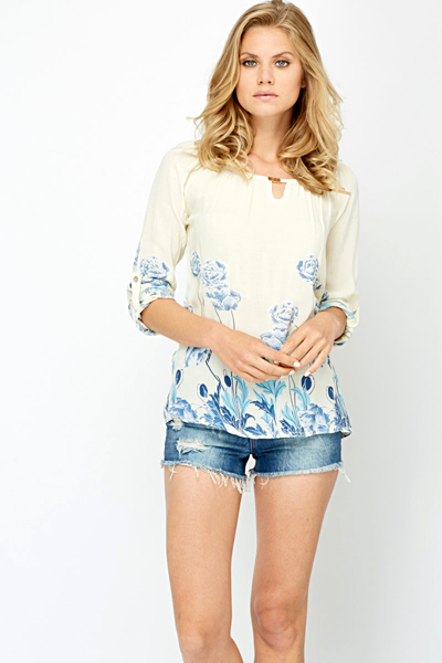Light Weight Rose Contrast Blouse