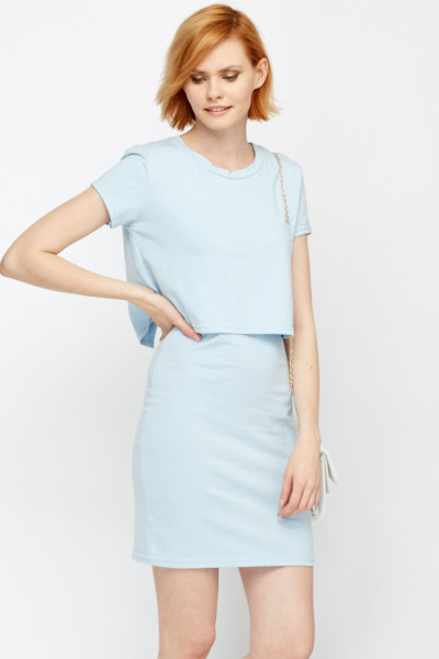 Round Neck Layered Bodycon Dress