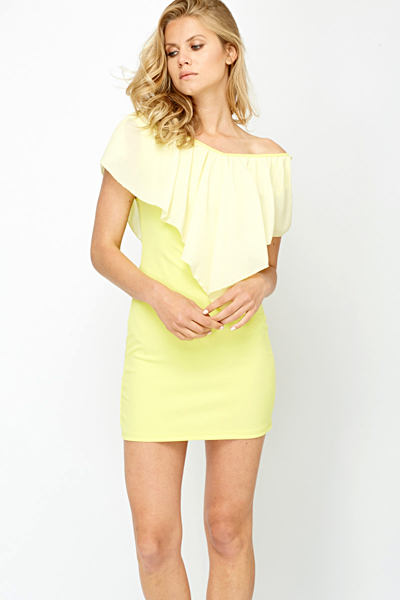 Off Shoulder Ruffled Bodycon Dress