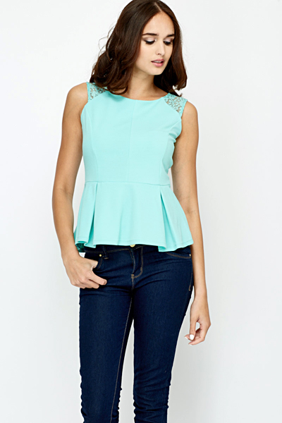 Floral Lace Back Peplum Top