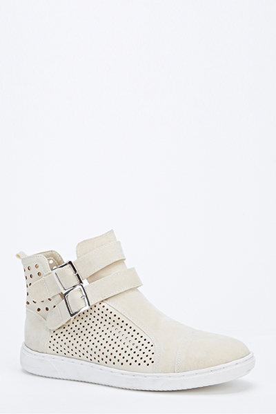 Perforated Side Double Strap Shoes