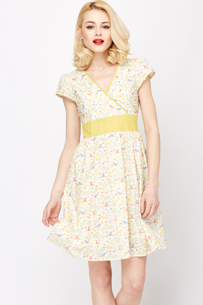 43af39226c Pleated V-Neck Cotton Skater Dress - Just £5