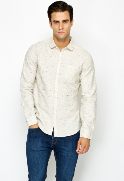 Speckled Cream Mens Shirt - Just £5