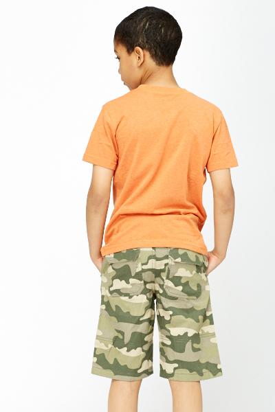 Boys orange t shirt and shorts set just 5 for Banded bottom shirts canada
