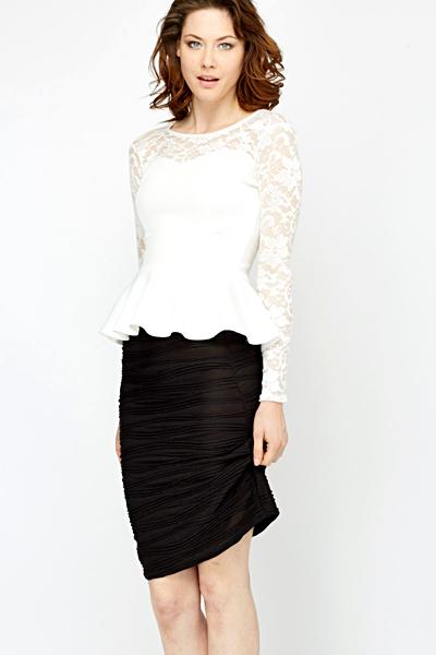 f1d3ed5f0900f White Lace Yoke Peplum Top - Just £5