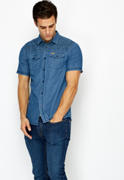 Mens denim shirt short sleeve artee shirt for Short sleeved shirts for men
