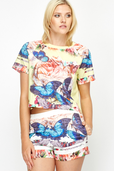Butterfly Flower Contrast Top
