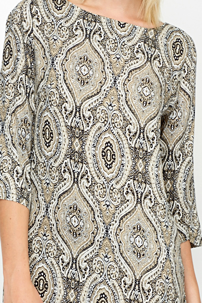 Contrast Ornate Shift Dress