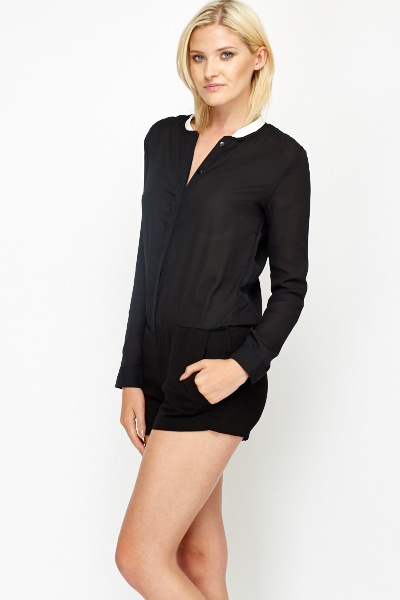 Contrast Round Neck Playsuit
