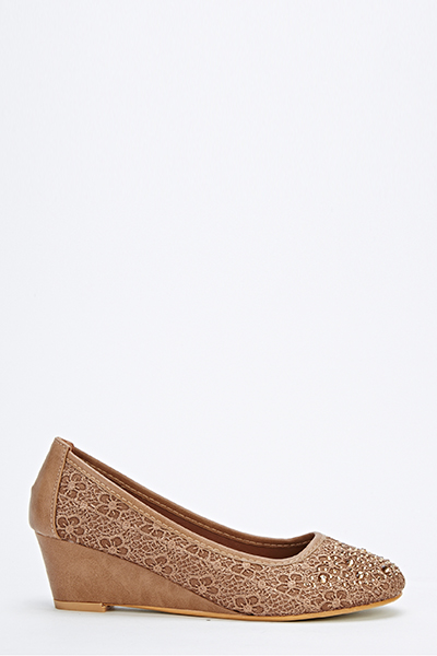 Lace Overlay Mid Wedge Shoes