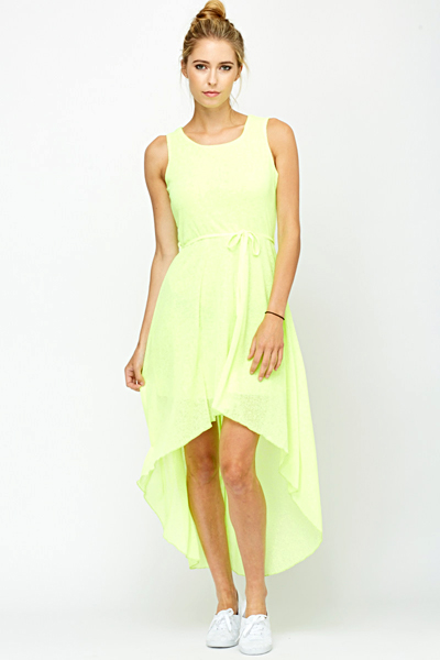 Neon Yellow Dip Hem Dress