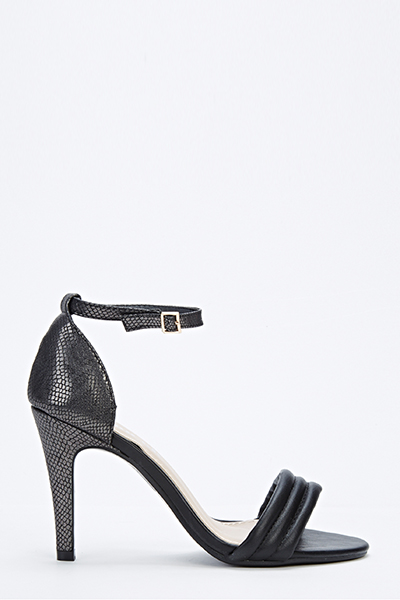 Black Textured Heeled Sandals