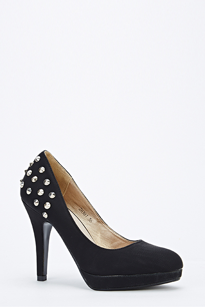 Faux Leather Studded Back Heels