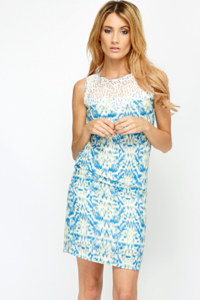 Lace Yoke Geo Dress