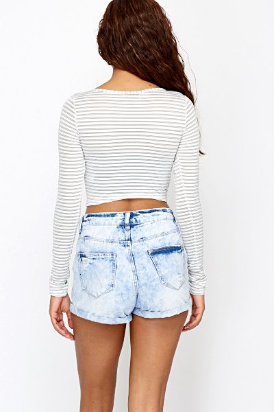 White Striped Crop Top