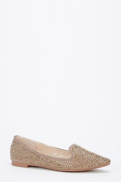 Encrusted Pointed Toe Flats