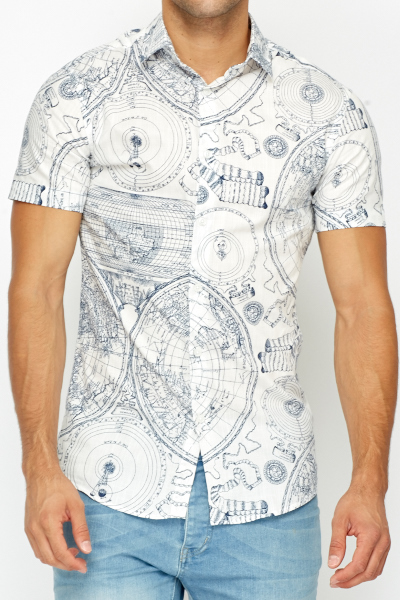 Map Print Slim Fit Shirt