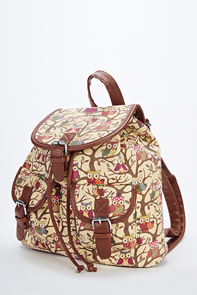 Multi Owl Print Backpack
