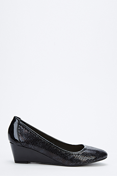 Patent Mock Croc Low Wedges