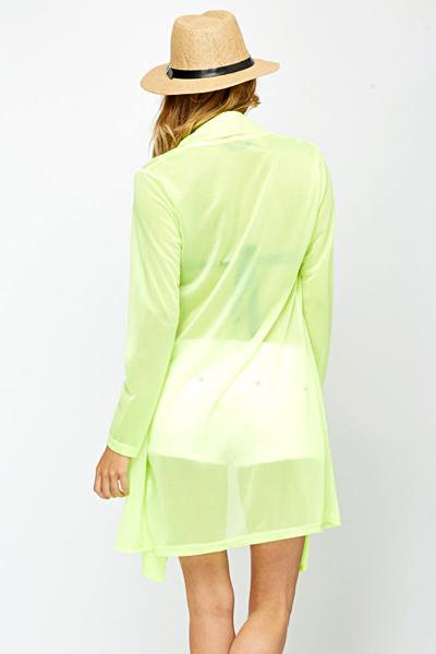 Sheer Open Front Neon Yellow Cardigan - Just £5