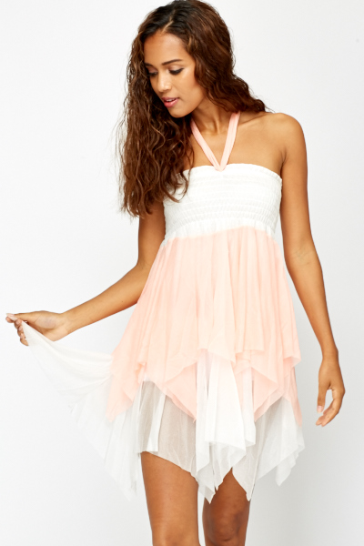 Contrast Ruffle Layered Dress