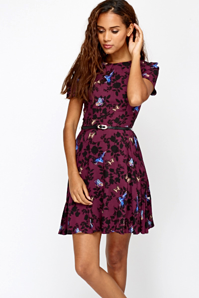 Cut Out Back Butterfly Printed Dress