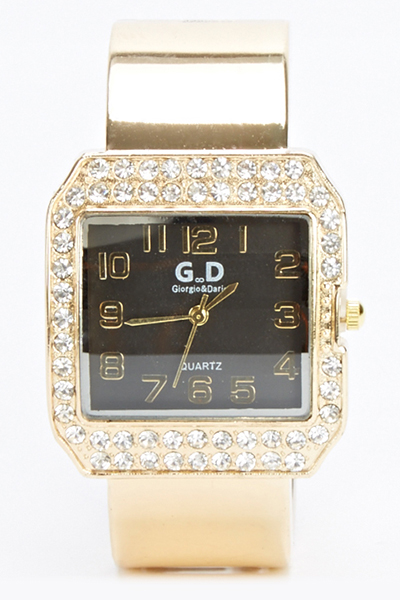 Encrusted Square Face Bangle Watch