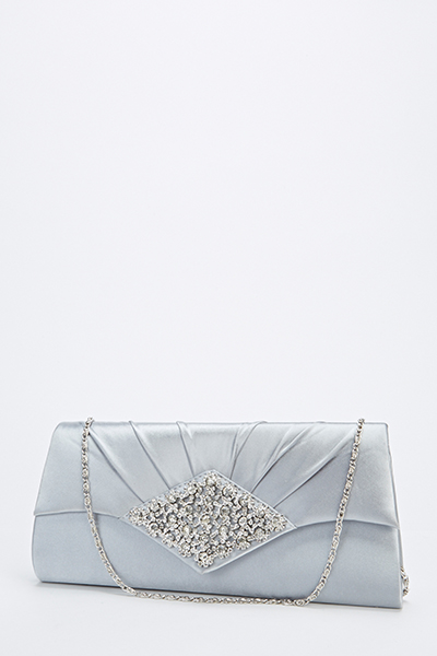 Sateen Encrusted Clutch Bag