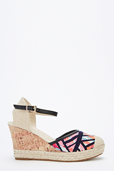 Geo Woven Contrast Wedge Sandals