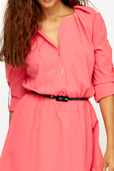 Hot Pink Shirt Dress