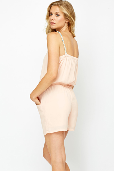 Pink Braided Strap Playsuit