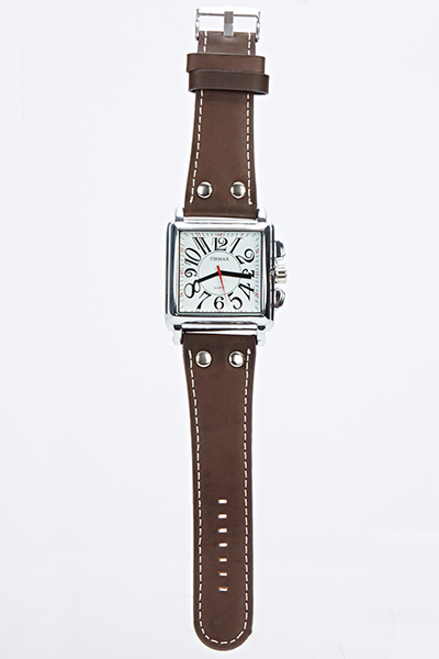 Mens Square Face Faux Leather Watch