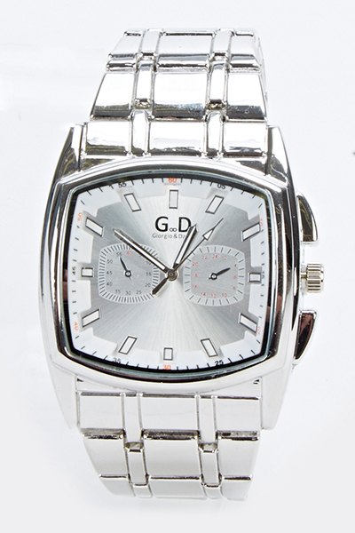 Mens Square Face Silver Watch
