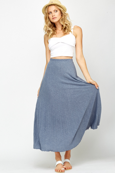 Middle Blue Pleated Maxi Skirt