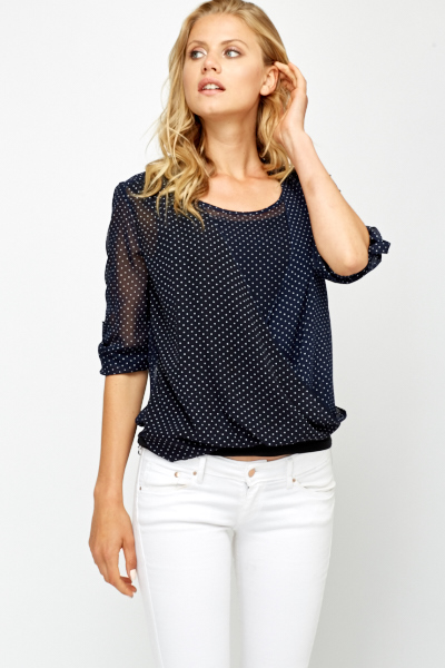 Navy Polka Dot Wrap Blouse