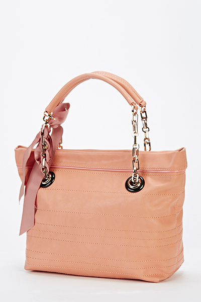Peach Scarf Bow Handbag